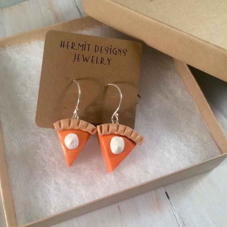Pumpkin Pie Polymer Clay Earrings Fun Thanksgiving & image 0