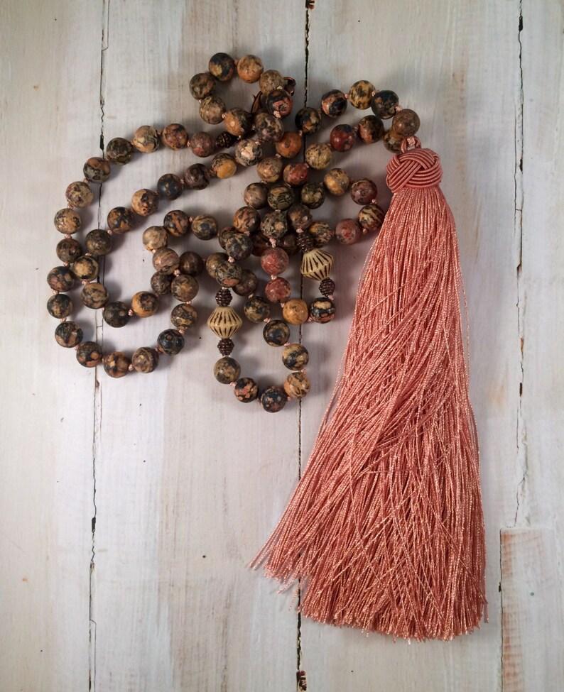Long Bohemian Necklace Dusty Rose Beaded Jasper Silk Tassel image 0