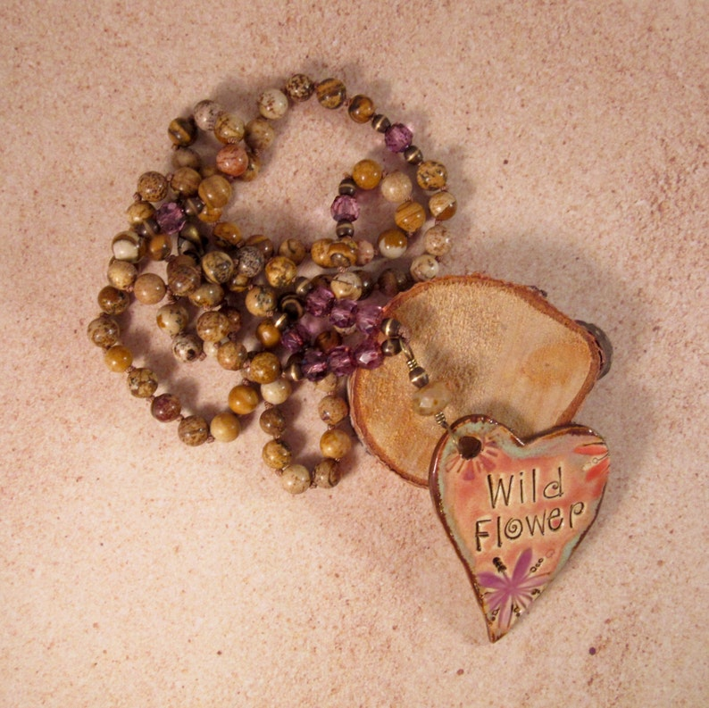 Wild Flower Heart Bohemian Necklace Purple Knotted Boho image 0