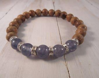 Beaded Stretch Bracelet with Dusty Blue Jade and Sandlewood, Stack Bracelet, Boho Gift for Her, Bohemian Bracelet, Boho Chic Jewelry