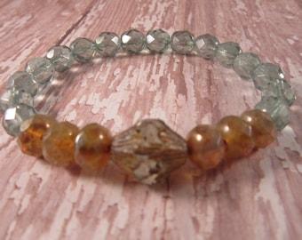 Amber & Mint Stretch Bracelet, Seafoam Green Stacker Bracelet, Czech Glass Bicone, Bohemian Bracelet, Boho Chic Jewelry
