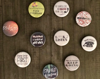 My Favorite Murder Pack-I Button or Magnet, Pinback Buttons, MFM Podcast Buttons, True Crime Memorabilia, Murderino, SSDGM, Stay Sexy