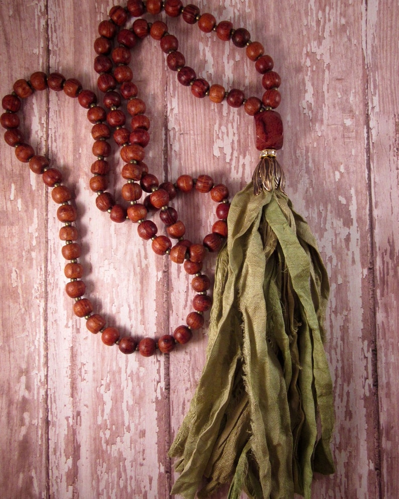 Long Bohemian Necklace Handmade Tassel Necklace Sari Silk image 0