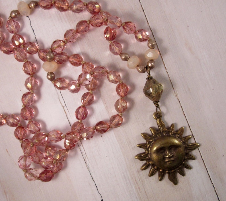 Long Bohemian Necklace Sun Pendant with Pink Czech Glass image 0
