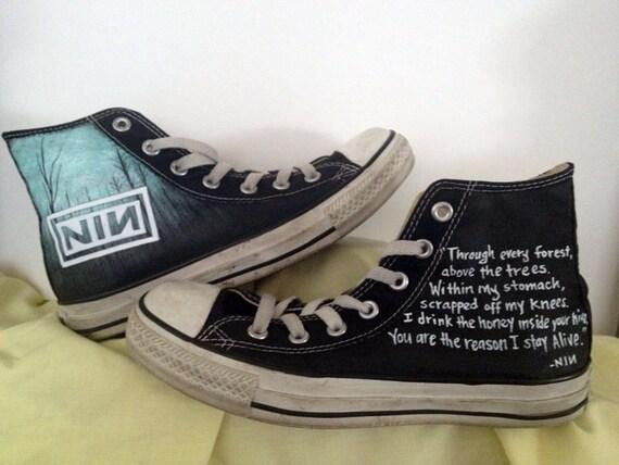 Custom Nine Inch Nails (NIN) music theme art work on Converse with lyrics.