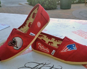 Custom Patriots Sports Team themed art work on Toms shoes