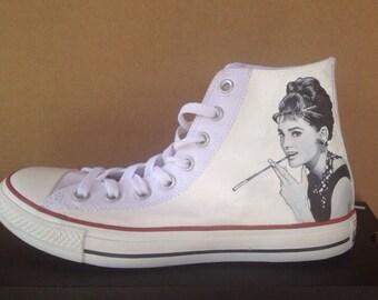 Custom Audrey Hepburn artwork on converse