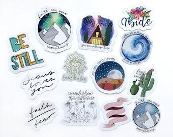 ALL 18 Faith Inspired Vinyl Die Cut Stickers