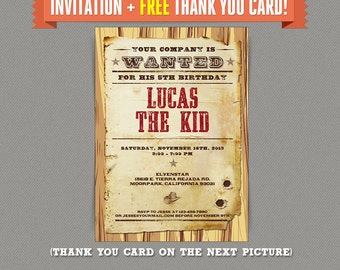 Cowboy invitations etsy cowboy birthday party printable invitation with free thank you card editable pdf files print at home filmwisefo