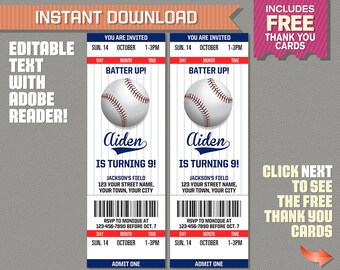 baseball ticket etsy