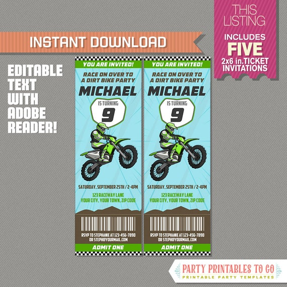 Dirt Bike Party Ticket Invitation Green