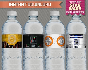 Star Wars Party Printable Birthday Bottle Labels / Napkin Rings - Editable PDF file - Print at home - Star Wars Birthday - Star Wars Labels