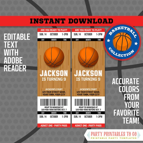 Basketball Ticket Invitation FREE Thank You Card