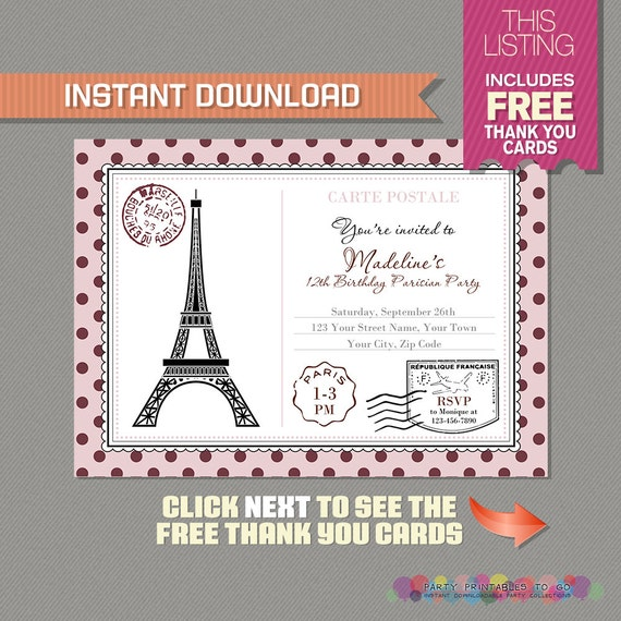 Paris Postcard Invitation With FREE Thank You Card Birthday