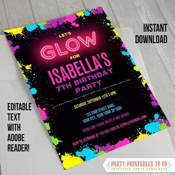 Neon Glow Party Invitations Decorations Instant Download Etsy