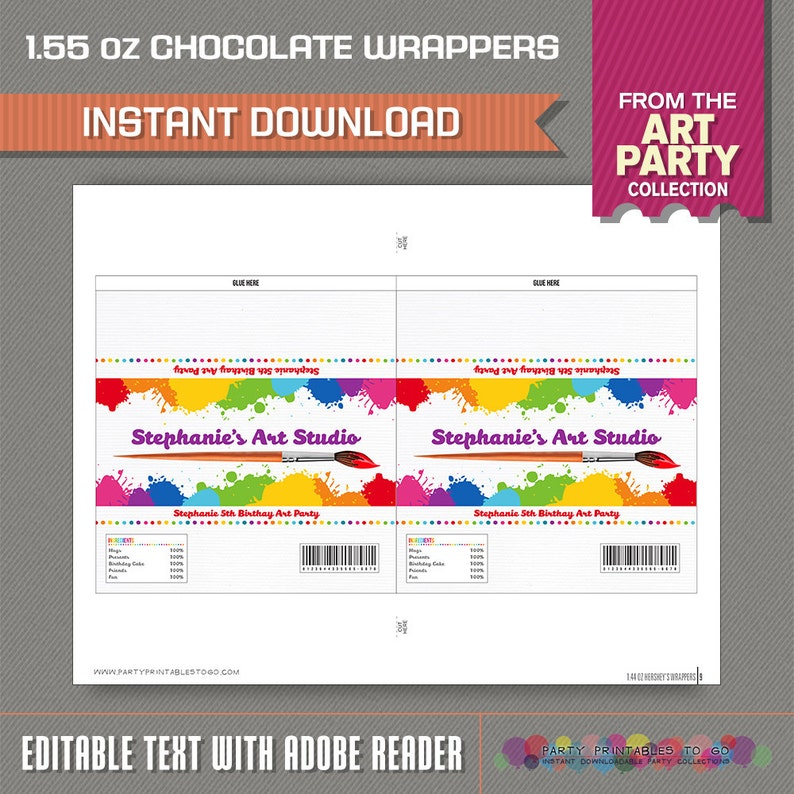 Art Party Standard size Chocolate Wrappers - Art Birthday - Instant  Download - Edit and print at home with Adobe Reader