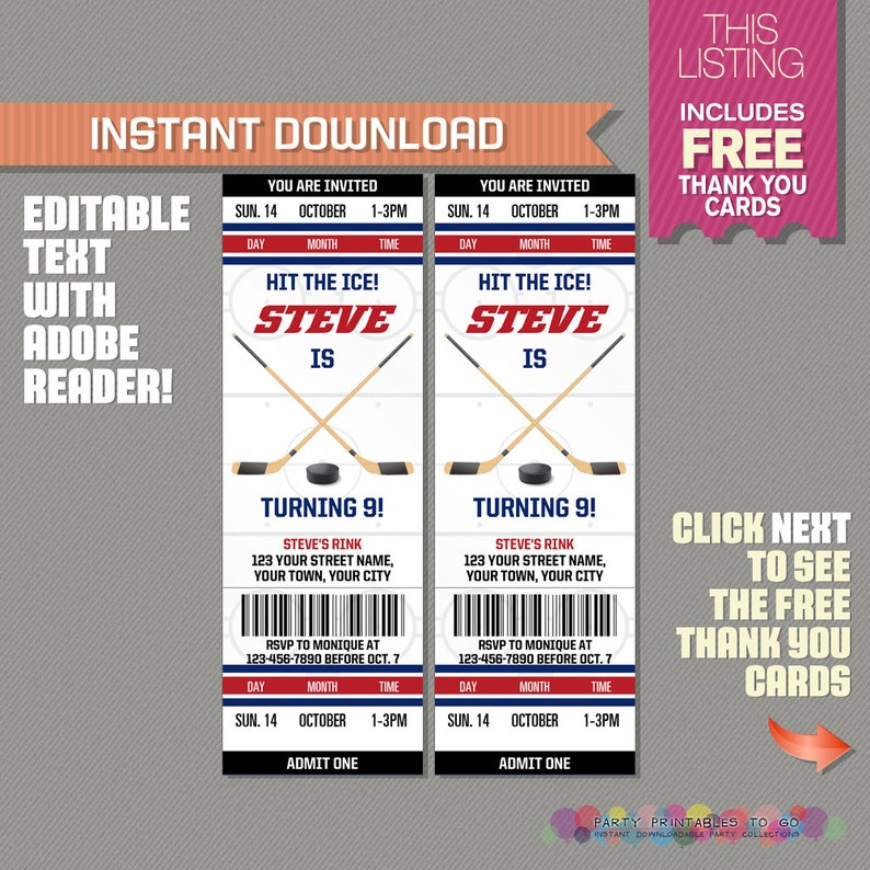 Ice Hockey Ticket Invitation With Free Thank You Card Ice Etsy