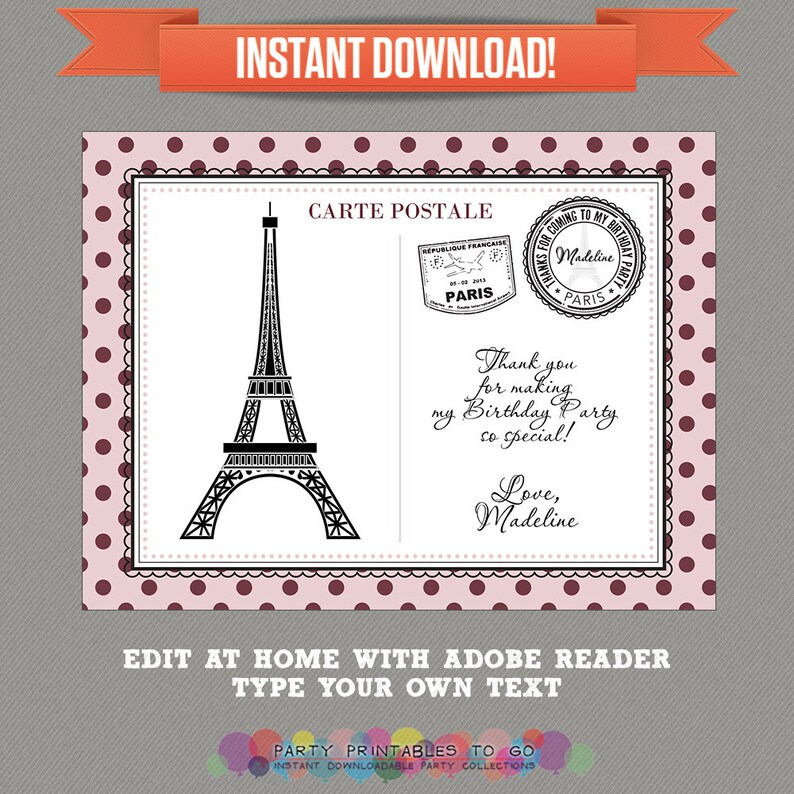 Parisian Party printable Thank you Cards Editable PDF file Print at home Paris Party