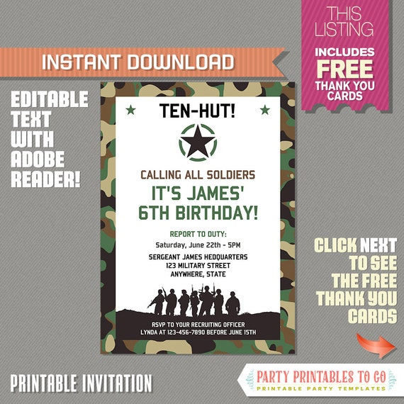 picture relating to Military Thank You Cards Free Printable identified as Armed service Invitation with Totally free Thank by yourself Card! Camo Birthday