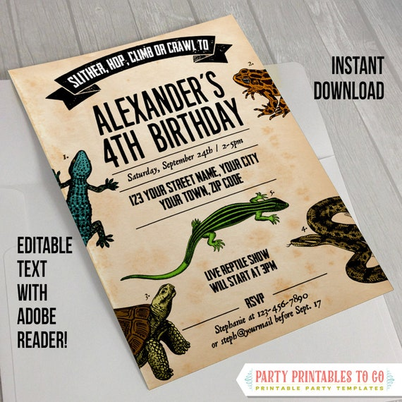 Reptile Party Invitation With FREE Thank You Card INSTANT DOWNLOAD