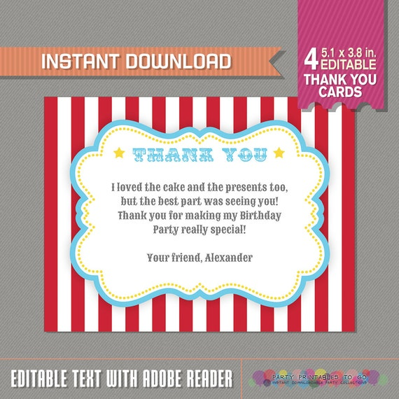 Circus Carnival Thank You Card Circus Party Carnival Etsy