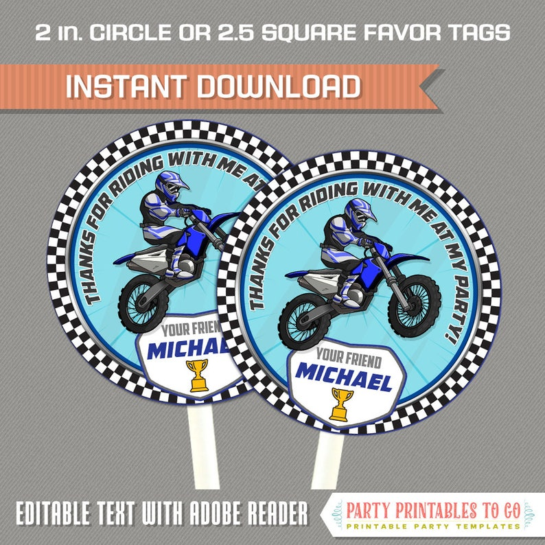 Dirt Bike Party Favor Tags Blue Motocross Birthday