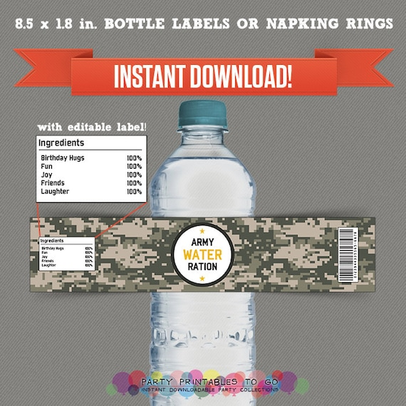 Army Party Printable Birthday Bottle Labels - Editable PDF