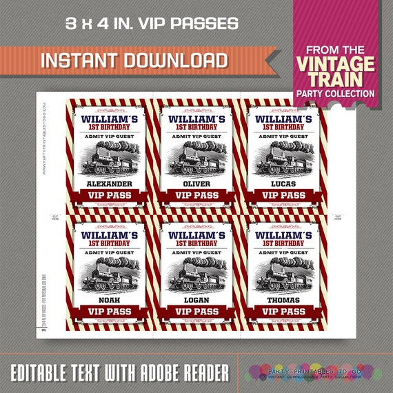 Train Party Pit Crew Pass Printable Insert Train Birthday Train Party Vip Pass Edit And Print At Home With Adobe Reader