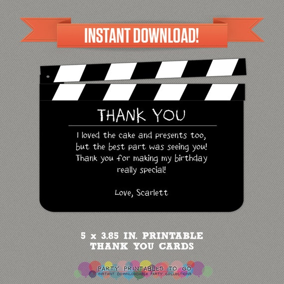 Movie Party Thank You Cards Movie Night Thank You Tag Instant