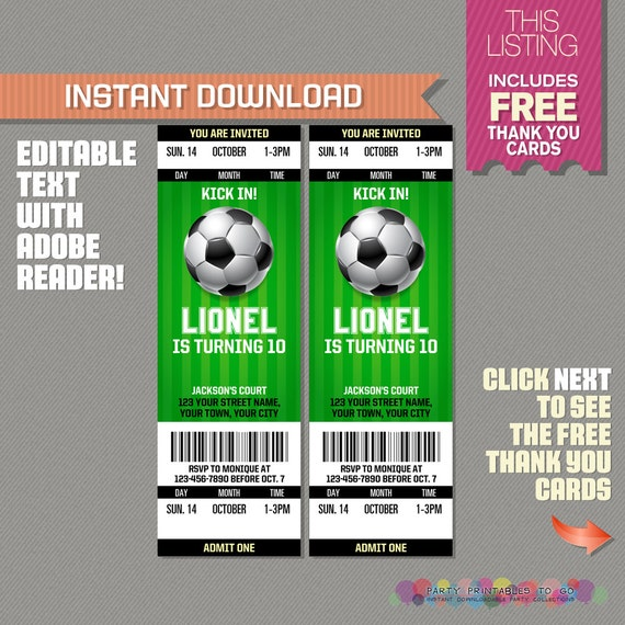 Soccer Ticket Invitation With FREE Thank You Card Soccer Birthday