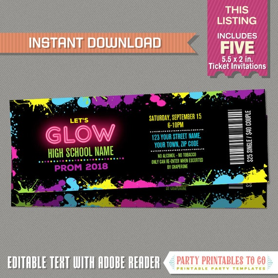 neon glow prom party ticket invitations instant dowload etsy