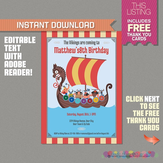 Vikings Party Invitation With Free Thank You Card Viking Party
