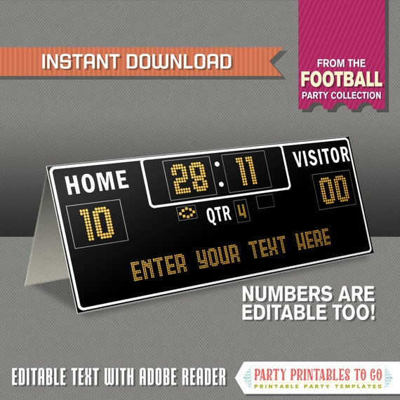 Football Tent Cards with editable numbers on Scoreboard - Football