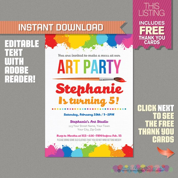 Art Party Invitation With FREE Thank You Card