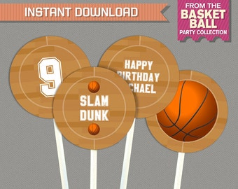 Basketball Party Printable Birthday Labels - Editable PDF file - Print at home with Adobe Reader - Basketball Birthday - Basketball Labels