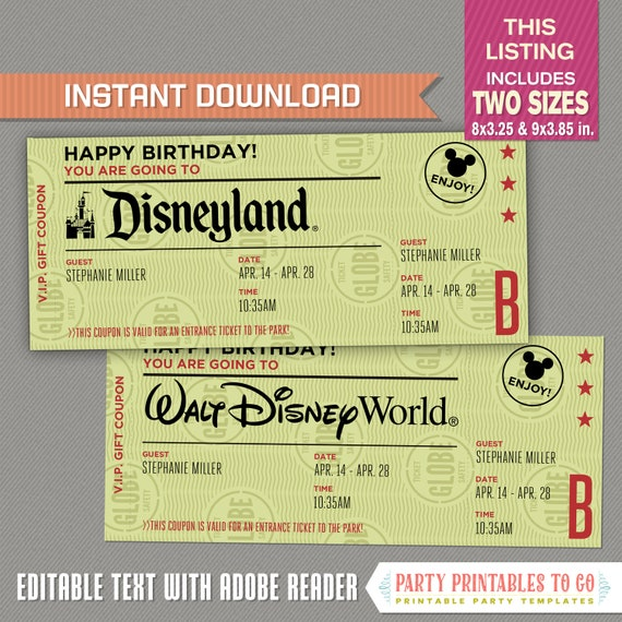 image relating to Disney World Printable Coupons called Editable Question Getaway Ticket in the direction of Disneyland / Disneyworld