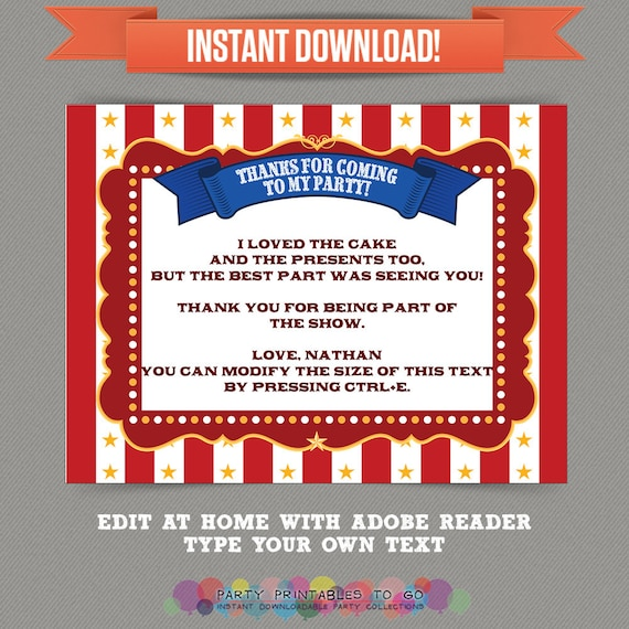 Circus Party Carnival Party Printable Thank You Cards Editable