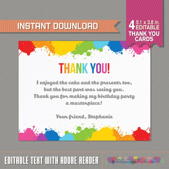 Art Party Thank You Cards Art Birthday Party Art Birthday Etsy