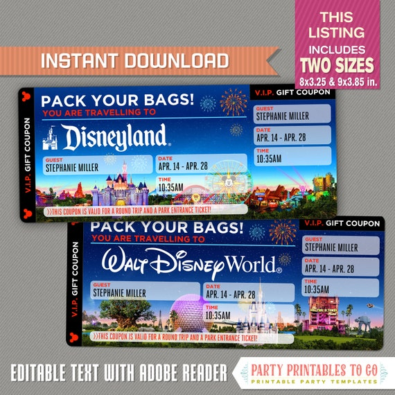 picture about Disney World Printable Coupons named Editable Marvel Getaway Ticket towards Disneyland / Disneyworld