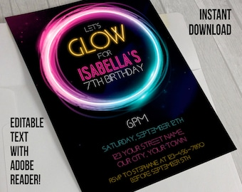 Neon Glow Party Invitation - INSTANT DOWLOAD - Glow in the Dark Party - Edit and print at home with Adobe Reader