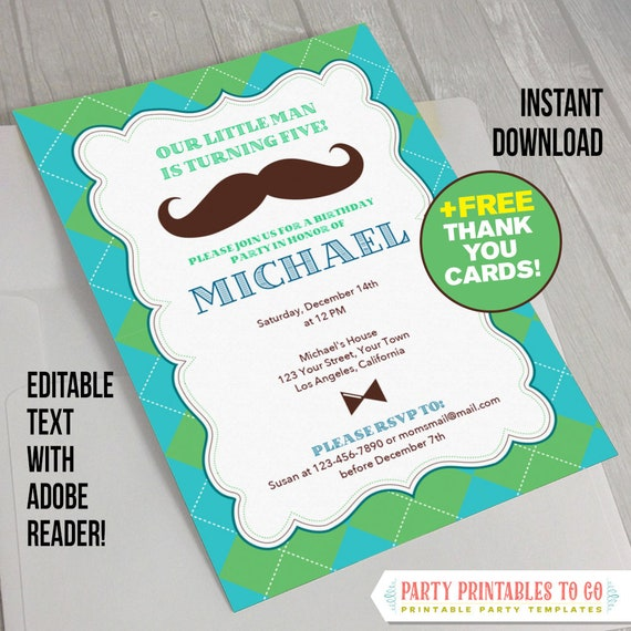 Little Man Invitation With FREE Thank You Card Mustache Birthday Bash Invite Hipster Boy