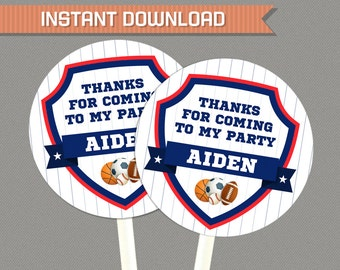 Sports Party Favor Tags - All Star Party Thank You Tags - INSTANT DOWNLOAD - Edit and print at home with Adobe Reader - All Star Birthday
