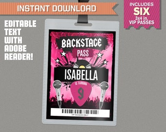 Rockstar Party Backstage Pass printable Insert - Rockstar Birthday VIP Pass - INSTANT DOWNLOAD! - Edit and print at home with Adobe Reader