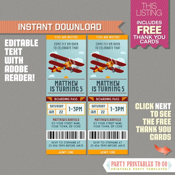 Vintage Airplane Party Ticket Invitation With FREE Thank You Card