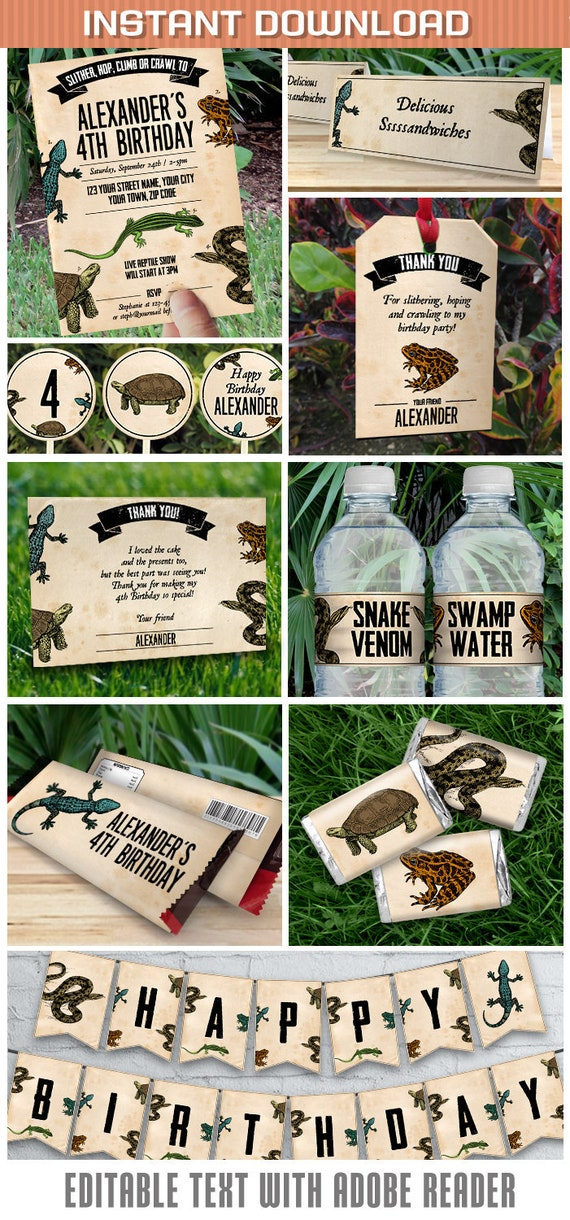 Reptile Party Invitations Decorations