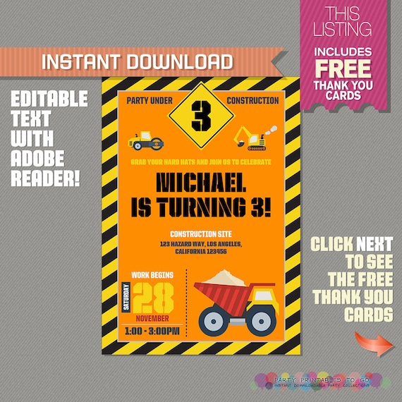 Construction invitation with free thank you card construction il570xn filmwisefo