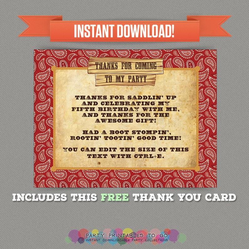 Editable PDF files Cowboy Birthday Party Printable Invitation with FREE Thank you Card Print at home