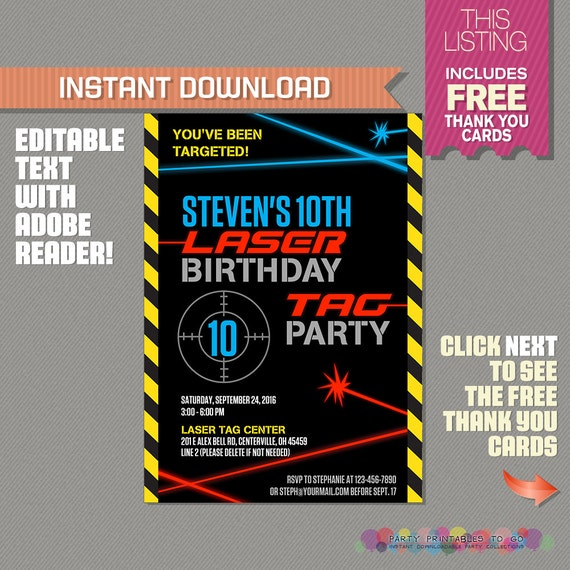 Juicy image inside laser tag birthday invitations free printable