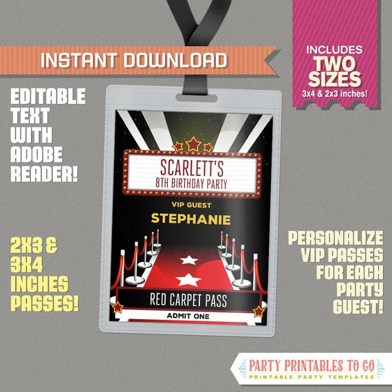 Red Carpet Party Pass printable Insert Red Carpet Birthday