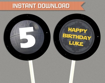 Star Wars Party Printable Birthday Labels - Editable PDF file - Print at home